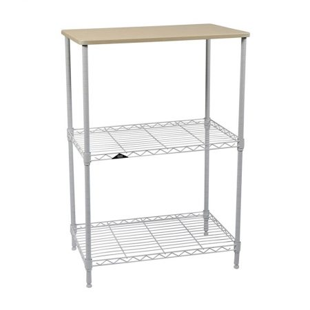 Apollo Hardware 3-Tier White Wire Shelf with Wood on Top Tier 14″x24 ...