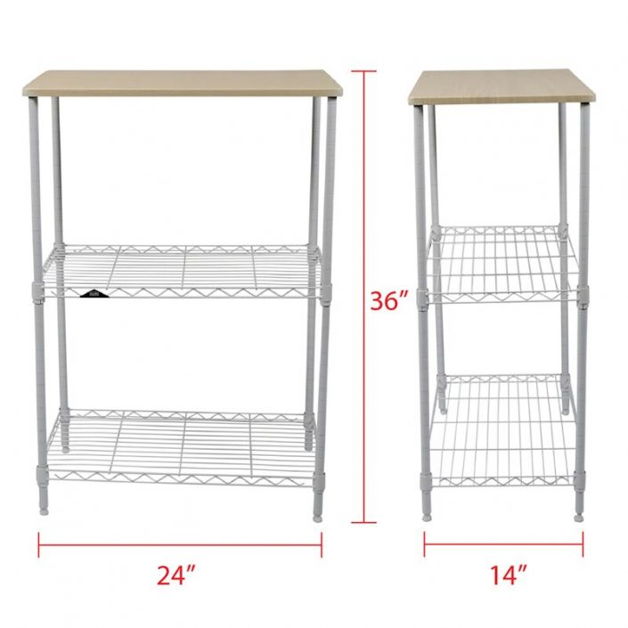 apollo hardware 3 tier white wire shelf with wood on top tier 14x24x36
