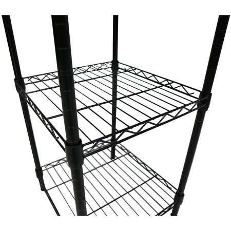 Apollo Hardware 3 Tier Black Wire Shelf With Wood On Top Tier Unit