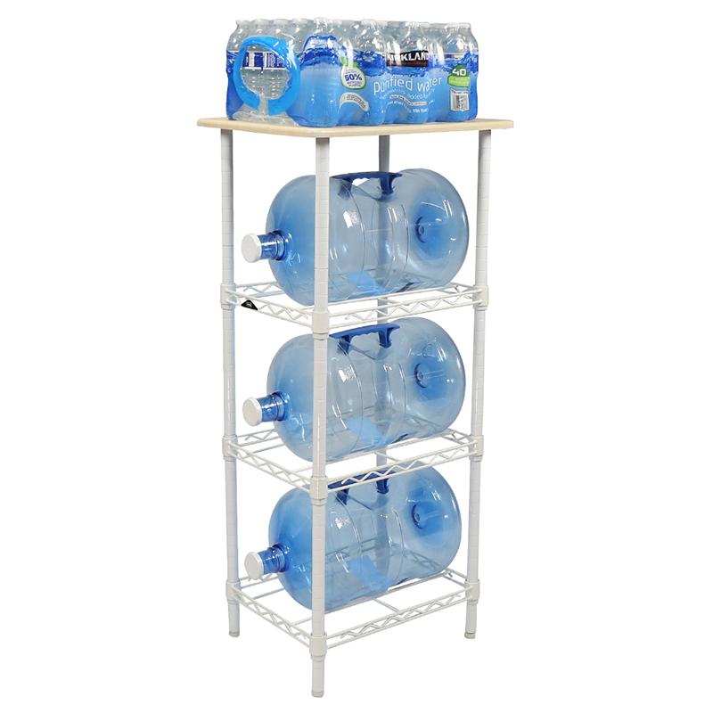 Apollo Hardware White 4-Tier Water Bottle Storage Rack with Wood on ...