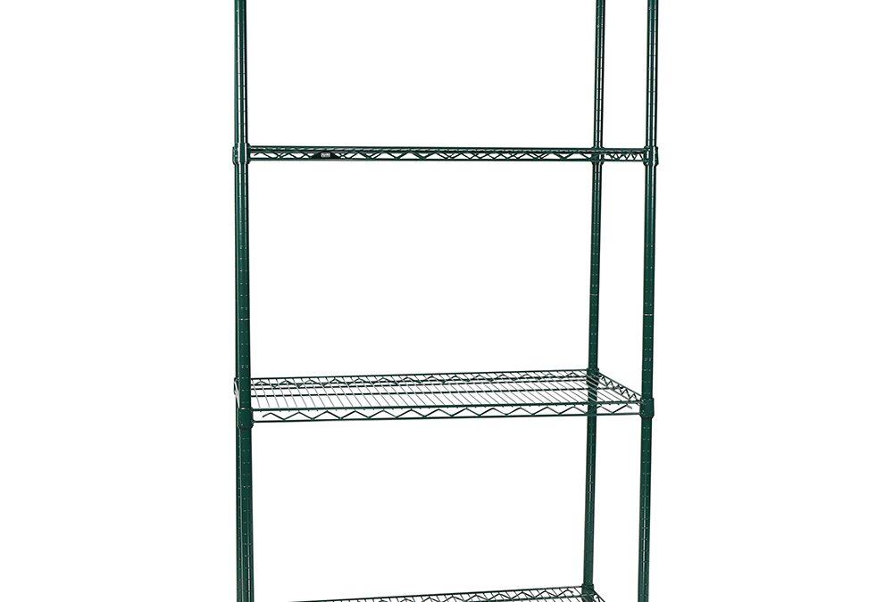 Apollo Hardware Commercial Grade Green Epoxy 4-Shelf NSF Wire Shelving Rack, 18″x36″x72″