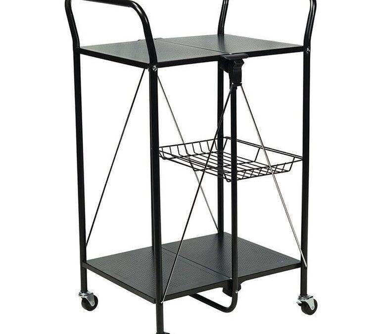 Apollo Hardware A-KC45AB Folding Utility and Kitchen Cart (Black)